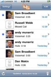 Screenshot of HulloMail app on iPhone