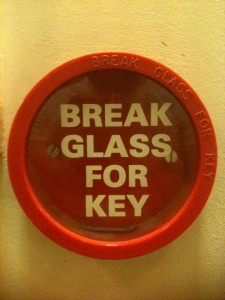 "Fire point showing label ""break glass for key"" but containing no key"