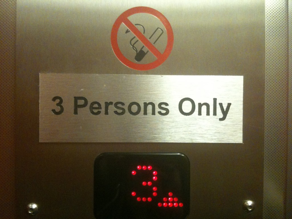 "Don't go it alone - this lift demands ""3 Persons Only"""